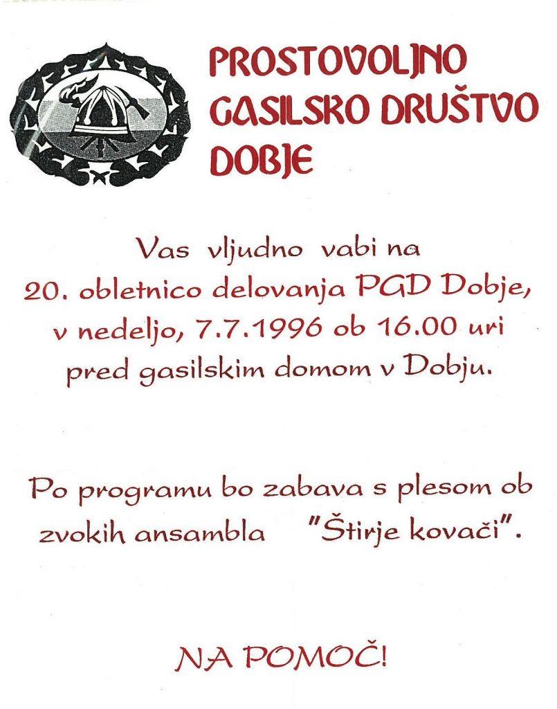 Vabilo na 20. obletnico delovanja PGD Dobje