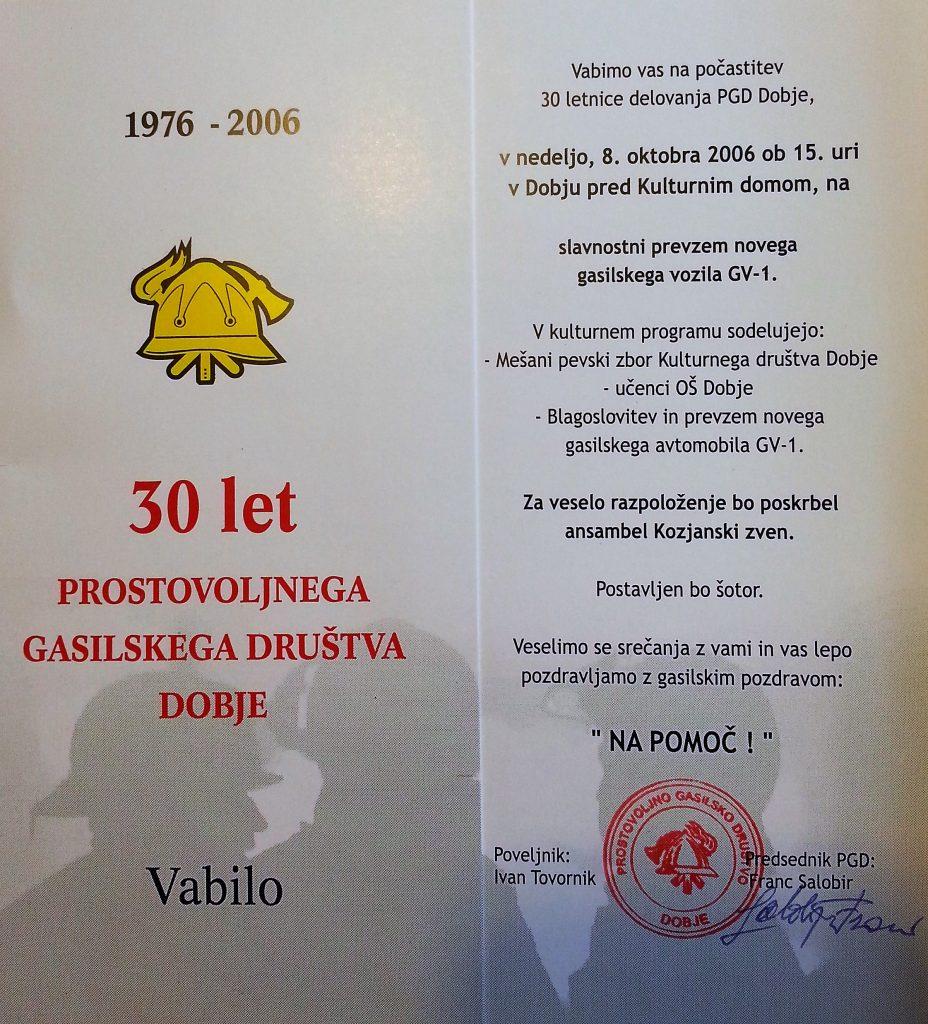 Vabilo na praznovanje 30. obletnice PD Dobje