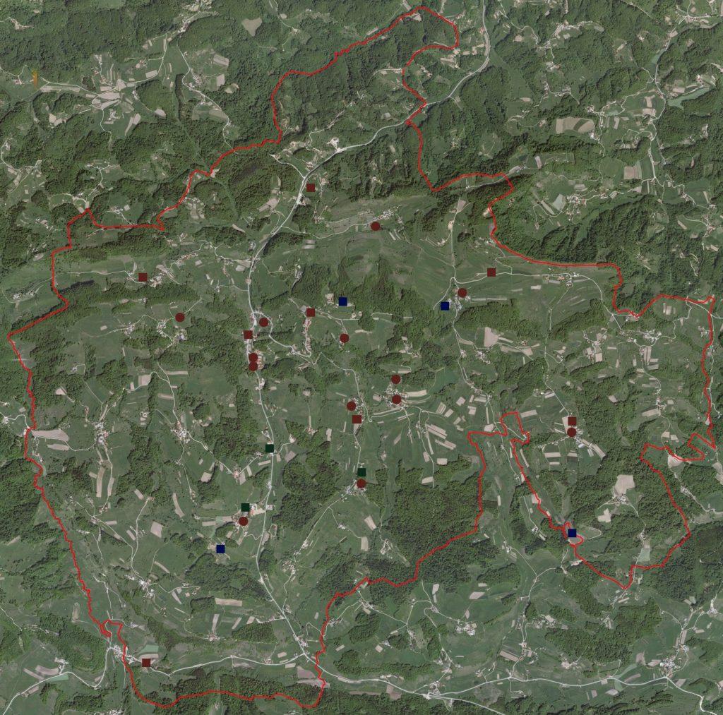 Zemljevid krajev požarnega okoliša PGD Dobje